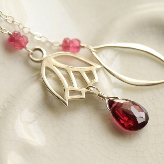 Tulip and Rhodalite Garnet, Sterling Silver Lariat