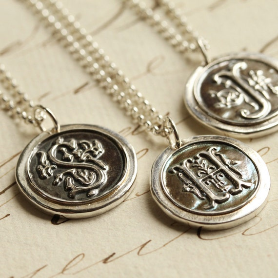 Oxidized Old English Initial Wax Seal Necklace - Any Letter of the Alphabet - Fine Silver, Sterling Silver