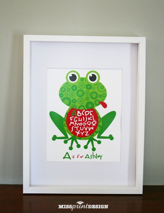 Frog Baby Nursery Art, Personalized, Alphabet Print, Baby Shower Gift 8x10