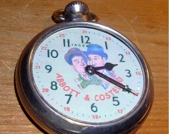 Free Worldwide Tracked Shipping..Vintage ABBOTT and COSTELLO character dial pocket watch