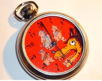 Vintage Big Bad Wolf and 3 Pigs Automaton Pocket Watch Moving Eye
