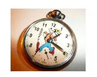 Free Worldwide Tracked Shipping....Vintage GOOFY Character Dial Pocket Watch