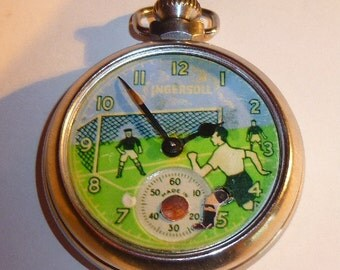 Vintage 1950's INGERSOLL FOOTBALLER SOCCER automaton pocket watch