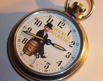 Vintage 1960's CHARLIE MCCARTHY picture dial pocket watch