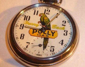 Vintage 1950s or 60s POLLY GASOLINE advertising pocket watch