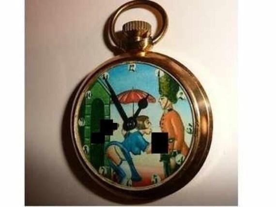 Free Worldwide Tracked Shipping...Vintage Erotic Automaton Pocket Watch. LONDON GUARD. MATURE
