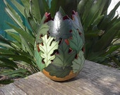Handpainted Gourd Art Vase Green Leaves Painted Forest Large