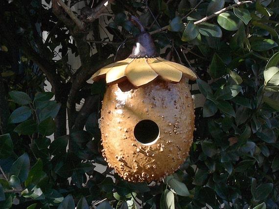 Birdhouse Sunflower Bird House Fairy Home Painted Gourd Gnome House