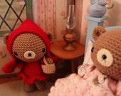 PDF Crochet Pattern, Little Red Riding Hood Teddy Bear Amigurumi Pattern