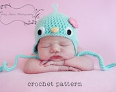 PDF Crochet Pattern, Baby Bluebird Hat w Flower, Earflap Hat or a Beanie, Sizes Newborn to Teen, Make an Adorable Costume or Photoprop :D