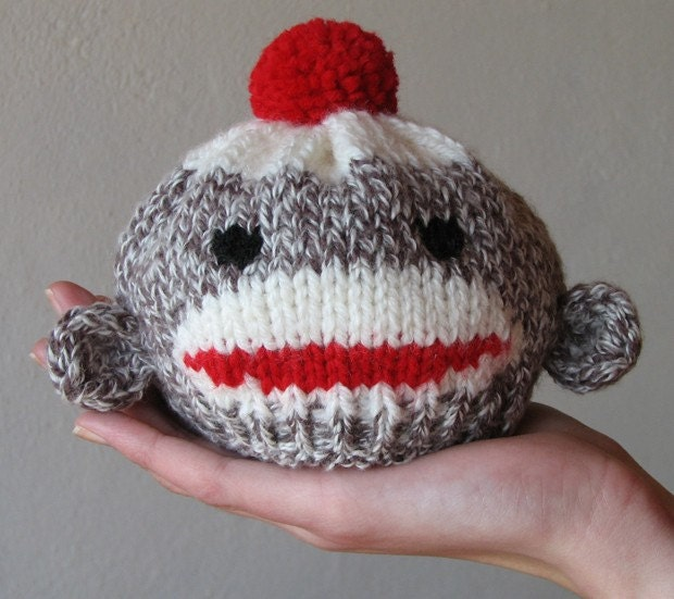 Knitting Pattern For Monkey Hat : Sock Monkey Hat for Newborn Baby Custom Knitted Cotton Blend