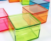 Tiny Color Square Plastic Boxes - 12pcs