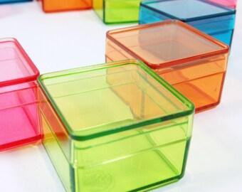 Tiny Color Square Plastic Boxes - 12pcs