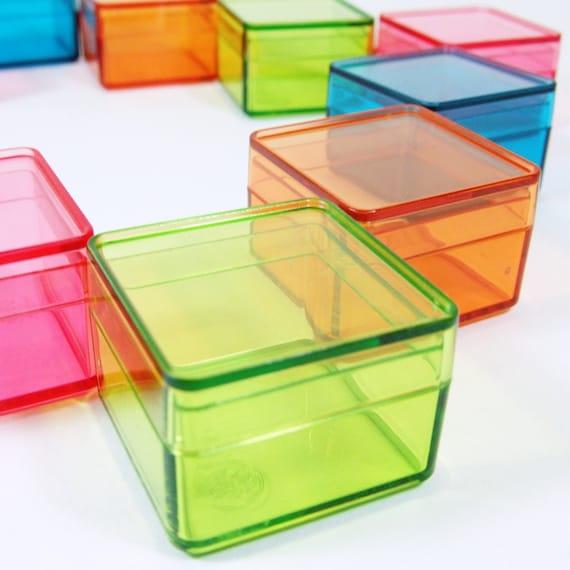 Acrylic Boxes Small : Dozens wholesale tiny color square plastic boxes