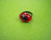 Black and Red Dice Resin Ring