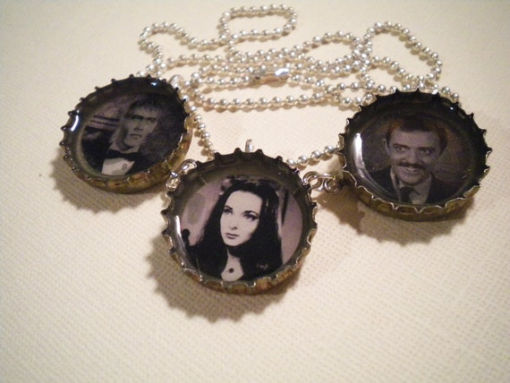Addams Family Recycled Bottle Cap Necklace