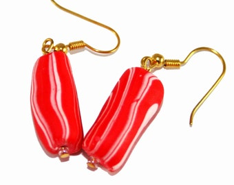 Red and White Polymer Clay Tube bead earrings