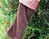 SALE Christmas Stocking, Brown Velvet, Pink Iridescent Shiny, One of a Kind