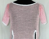 Pink Crochet Top, Women, Cover-up, Cotton, One of a Kind