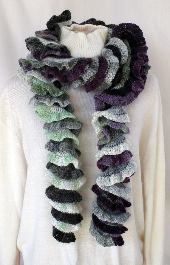 Crochet Spiral Scarf & Fingerless Gloves- Grey Black Violet Green - Handmade - One of a Kind