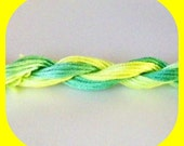 Hand Dyed, Hand Painted, DMC Mouline Embroidery Floss, Thread - 6 Strand Divisible - LEMON and LIME