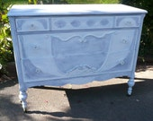 Poppy Cottage Periwinkle Dresser and Mirror Vintage