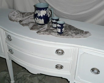 BUFFET Stately Bow Front Vintage Mahogany Sideboard ... Antique Server Poppy Cottage PAINT to ORDER Painted Furniture