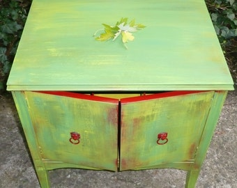 Vintage Retro/ Record Cabinet Poppy Cottage Arty Accent Side Table Custom Painted Furniture