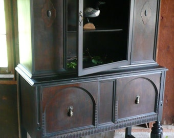China Cabinet Primitive Hutch Vintage Poppy Cottage Painted Furniture