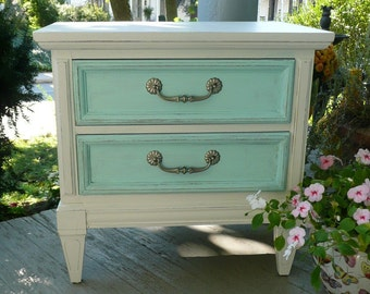Bedside Table California Modern Custom PAINT to ORDER  Vintage Federal Style Poppy Cottage Painted Furniture