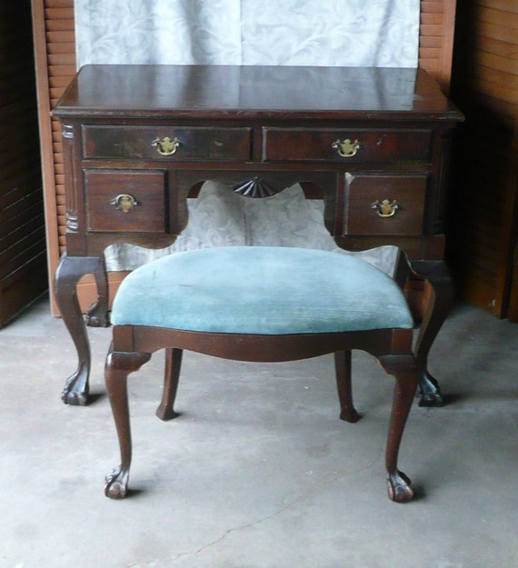 RESERVED Antique Ladies Desk /Vanity with Dressing Bench.PAINT
