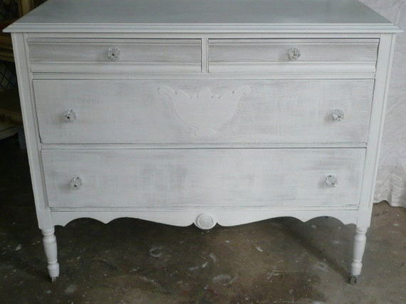 Dresser and Mirror Vintage Whitewash and Pale Grey