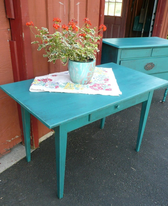 RESERVED Painted Farm Table .Poppy Cottage Vintage