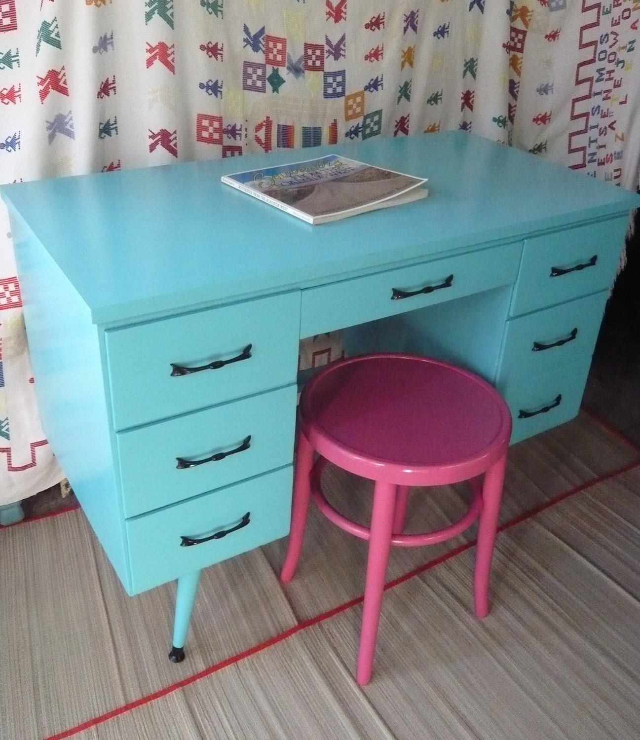 Calypso retro desk vintage painted furniture turquoise beachy for Vintage furniture