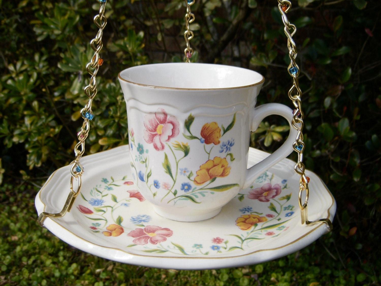 Hanging Tea Cup Birdfeeder REPURPOSED Vintage Cup by whatabusybee