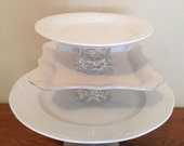 White 3 Tiered Cake Stand with Vintage Lamp Fixture Base