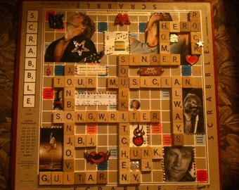 Scrabble Board Art Tribute to Jon Bon Jovi (or made of ANYONE or anything YOU WANT)
