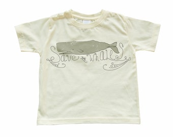 Adorable Toddler Tee With Save The Whales Design on Soft Yellow, Pink or White T-Shirt Child Great Gift Idea Green Hippie Environment Design