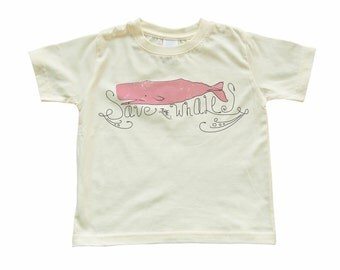 Apericots Cute Save the Whales Fun Kids Eco Friendly Tee Soft Cotton Pink Whale