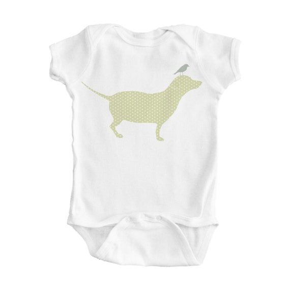 White Baby Bodysuit with Green Polka-Dot Dog and Bird Design - Cute Baby Clothes