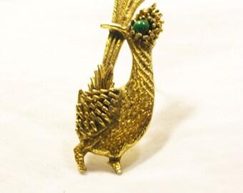 Vintage 1950s Gold Tone Ostrich Brooch signed AMBASSADOR