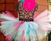 Baby Birthday tutu- Girls Birthday Outfit-- Confetti Cupcake Tutu--1st Birthday Tutu--Pink Tutu, Teal Tutu, Fuchsia Tutu, Aqua Tutu
