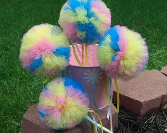 Bubblegum Blast Poof Wand - Pink and blue tulle wand- Party Decoration- Magic Wands- Tulle wand- birthday party decorations