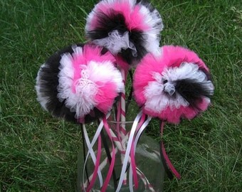 Hot Pink Zebra Poof Wand-- Tulle Wand- Poof Wand- Hot Pink, Black, and White Wand- zebra party decoratuons-hot pink party decorations