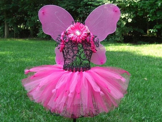 PINKALICIOUS PRINCESS TUTU--- 3 PC. SET-----   Tutu, Fairy Wings, Flower Clip Headband ------ Halloween, Birthday Parties, Portraits.
