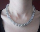 Chainmaille necklace Snake chain Box weave Silver aluminum