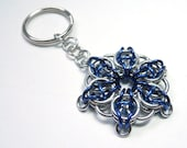 Star key chain, Chainmaille, Blue and silver