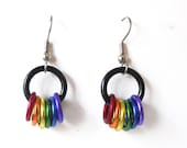 Gay Pride earrings, Freedom rings, Rainbow jewelry, Small, Chainmaille