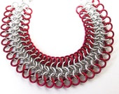 Chainmaille bracelet, Red and silver aluminum, Red bracelet, European 4 in 1, Mesh