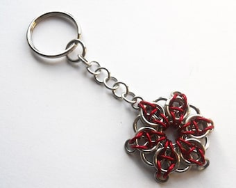 Chicago Flag Star keychain, Red star keychain, Celtic Visions star, Chainmaille key chain